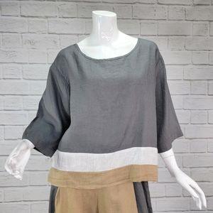 Luukaa Top 100% Linen Size:5 (XL) NWT!